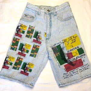 Cross colours Vtg patchwork denim jean shorts 28